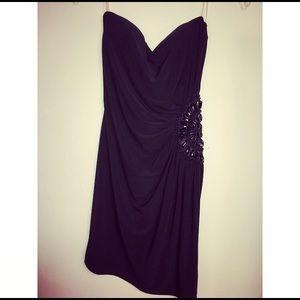 Black Mini Dress with Side Beaded Cutout Design